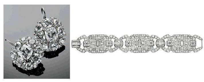 Platinum and diamond cushion cut earrings and art deco bracelet- Ivanka Trump's wedding