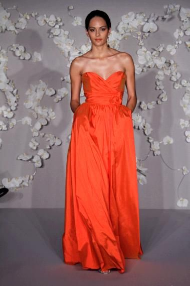 Gorgeous bright orange silky taffeta sweetheart neckline bridesmaids dress with pockets
