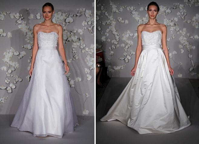 Cream a-line wedding dress from Alvina Valenta, with jeweled flower appliques and covered buttons