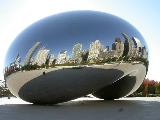 This sculpture, officially known as Cloud Gate, but fondly called the Bean is located in Chicago's f