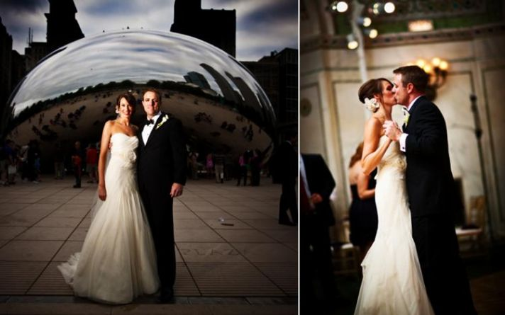 Beautiful bride in white strapless wedding dress poses with groom in front of Chicago's bean