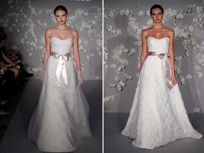 Ivory modern a-line and ball gown wedding dresses- strapless bodice with satin ribbons at natural wa