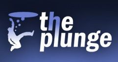 This blue and white logo for The Plunge shows a groom drowning in wedding planning.