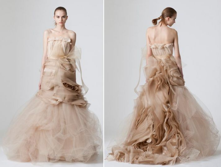 Dramatic cocoa, taupe wedding dress from Vera Wang with loads of fabric and tulle