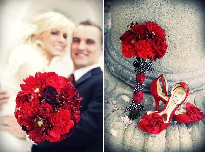 Gorgeous dark red bridal bouquet and heels beautiful bride in white wedding