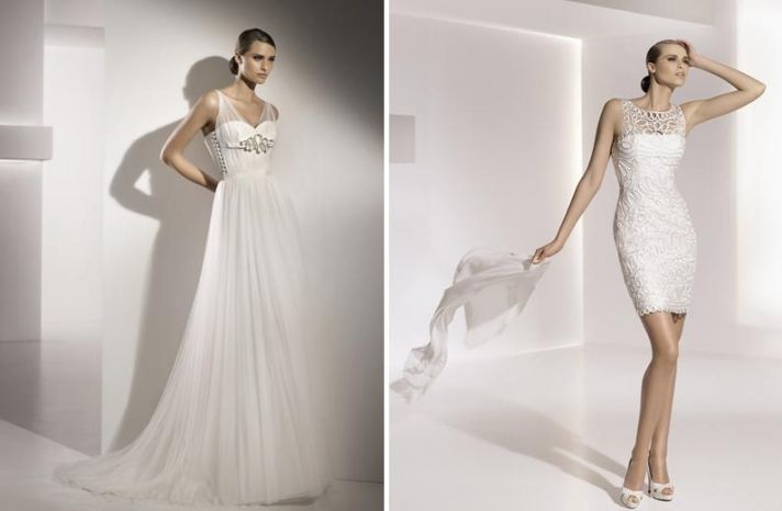 Grecian inspired a-line wedding dress with illusion straps and stunning silver and rhinestone brooch