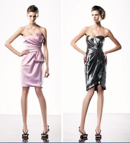Strapless bridesmaids' dresses from Love by Enzoani- light pink and pewter grey