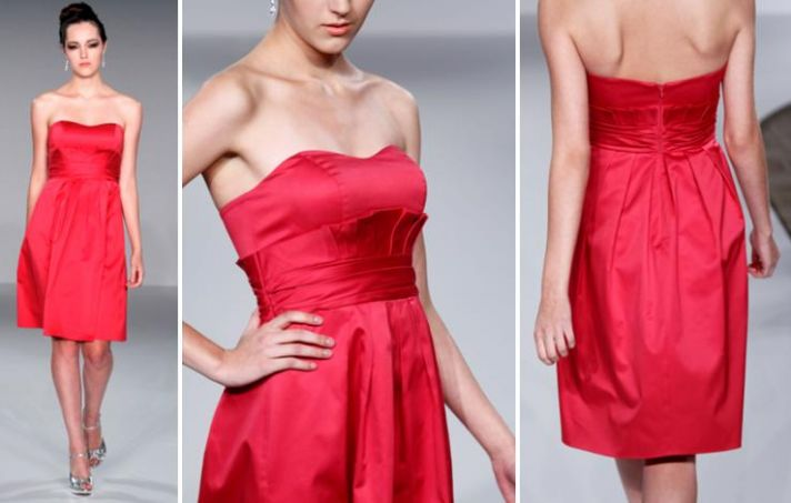 Chic and sassy strapless bridesmaids dress in a bright rasberry hue