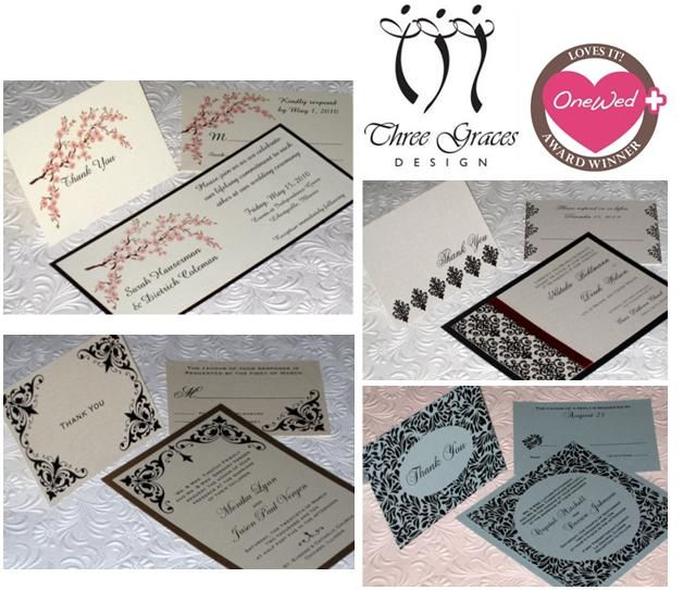 Beautiful semi-custom thank you notes and wedding stationery from Three Graces Design