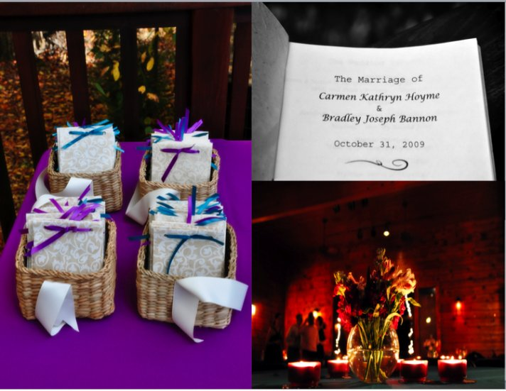 The party favors are wrapped in purple and teal ribbons. An elegant evening candle arrangement.