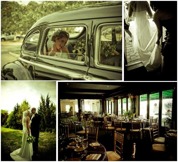 Bride with white wedding dress and veil smiles in antique wedding car