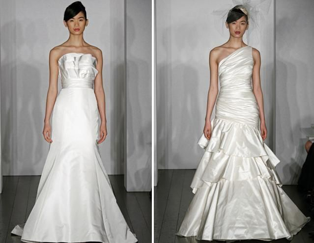 Beautiful spring 2010 wedding dresses from Amsale, with understated ruffles on bodice and on skirt