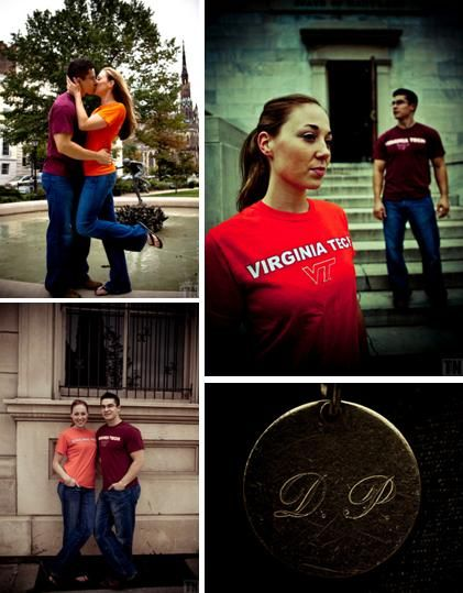 Engaged couple in their college t-shirts have fun during engagement session in downtown Baltimore