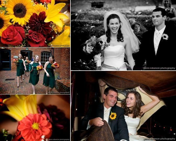 Vibrant fall flowers, and bridesmaids in dark green dresses; bride and groom drive away in horse-dra