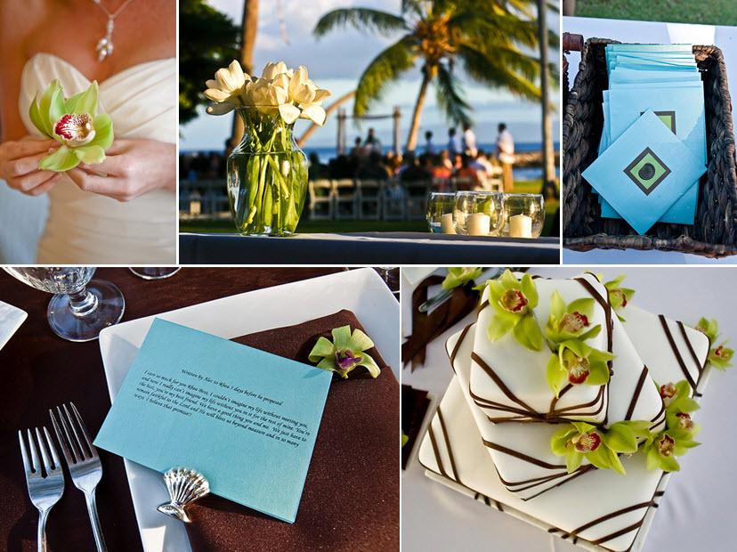 Bride in white sweetheart neckline wedding dress holds green orchids