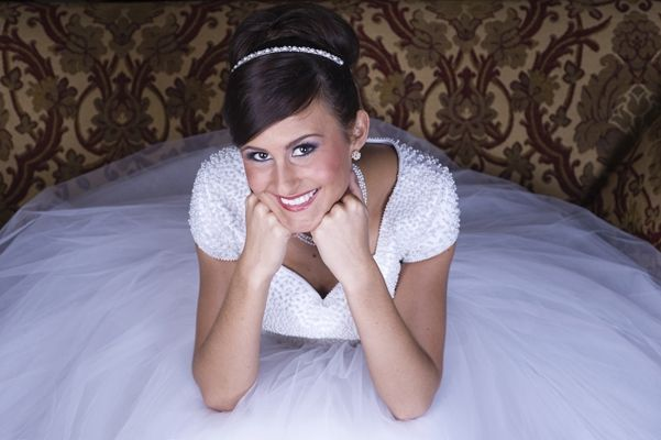Lovely modest wedding dress with pearlcovered bodice and full tulle skirt
