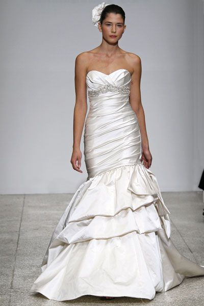 Kenneth Pool wedding dress- Romatic, ivory duchess satin mermaid with dropped waist and ruched bodic