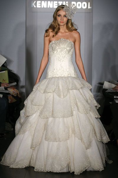 Kenneth Pool wedding dress- Aphrodite, tulle strapless ballgown with fully beaded bodice