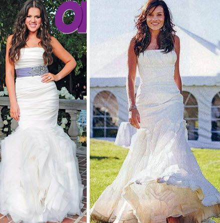 Khloe Kardashian and Kara dioGuardi wore mermaid silhouette Vera Wang wedding dresses