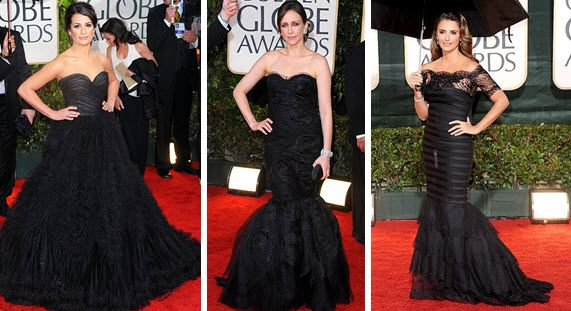 Golden Globes Red Carpet 2010 Black Gowns Lea Michele, Vera Farmiga, Penelope Cruz