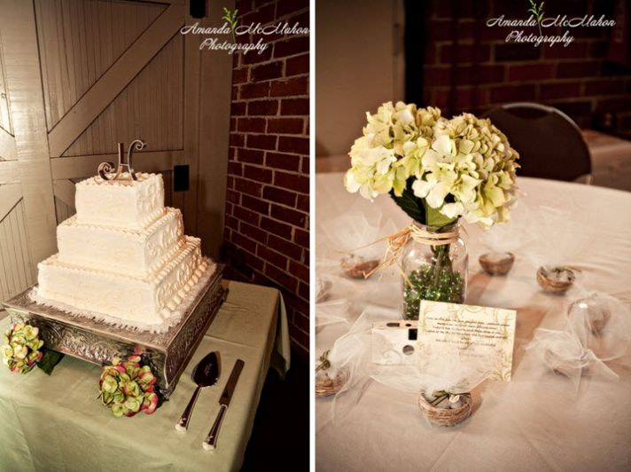 Gorgeous three tier white square wedding cake adorned with green and pink hydrangeas