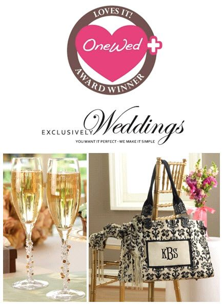 Beautiful toasting flutes and damask tote from Exclusively Weddings!