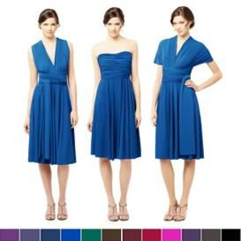 These three bridesmaids in a cobalt blue bridesmaids dresses show the trend of bridesmaids choosing