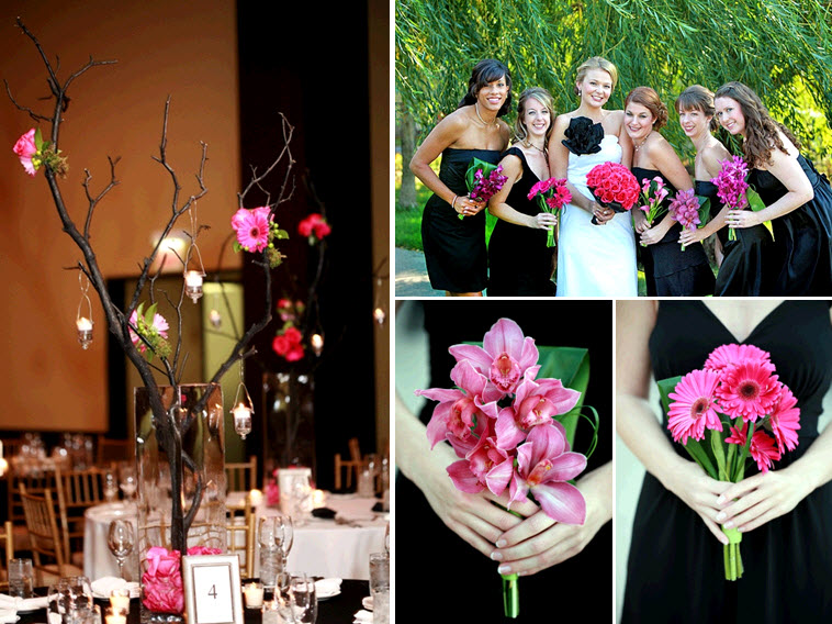 Gorgeous high centerpieces at wedding reception made of bright flowers hung