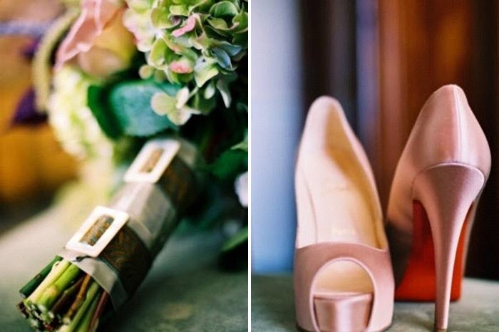 whimsical-romantic-bridal-bouquet-green-pink-hydrandeas-roses-pink-christian-louboitons-bridal-peep-toe-heels