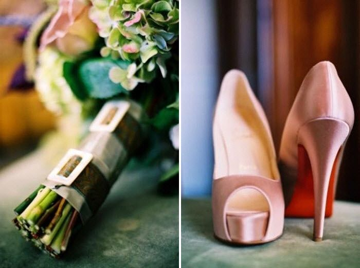 Ethereal dusty rose, sage green, and antique green bridal bouquet; sky-high Christian Louboutin brid