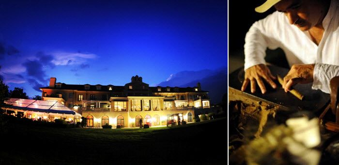 Keswick Hall in all its beauty at night; hand-rolled cigars entertained guests at the wedding