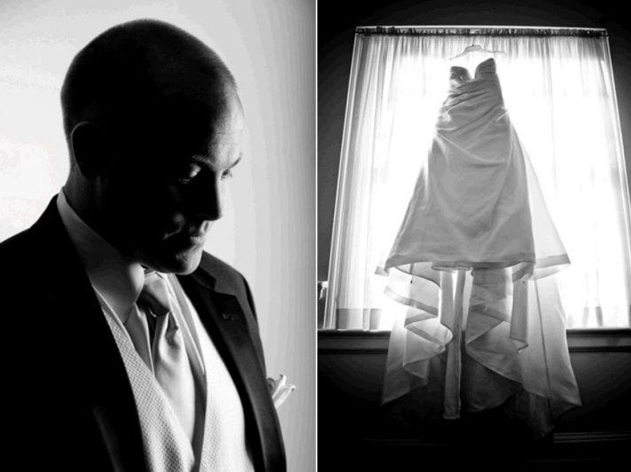 Groom prepares to say I Do, wearing formal black tuxedo; bride's white wedding dress hangs in window