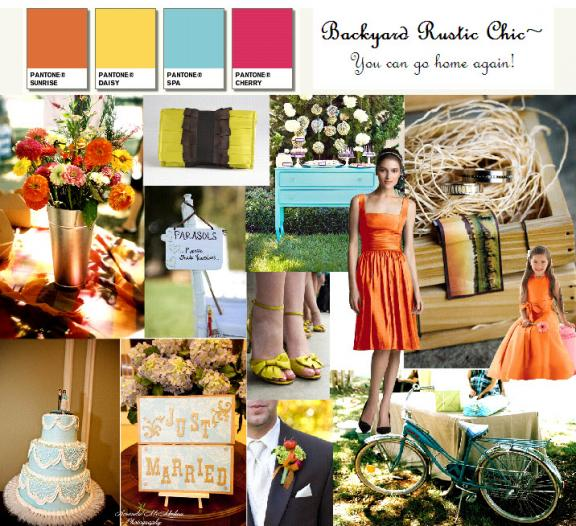 This Dessy Style Board features burnt orange gold light blue and pink for