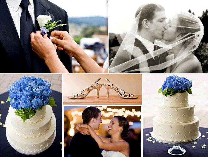 Beautiful white three tier wedding cake adorned with blue-purple hydrangeas; bride pins boutinnere o