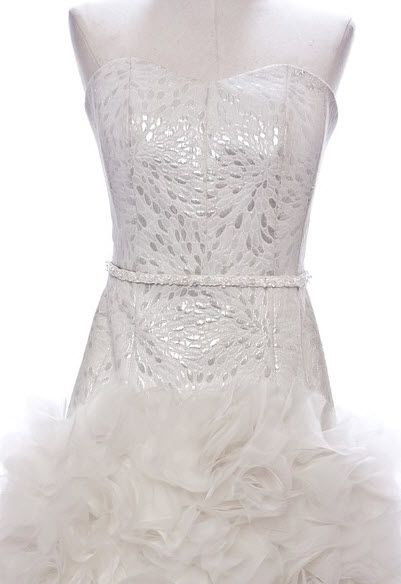 White Orchid Wedding Dress made from hand cut organza petals