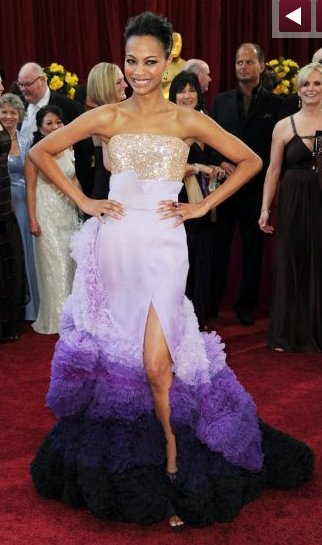 Zoe Saldana's 2010 Oscar dress was made by Givenchy and featured purple ruffles.