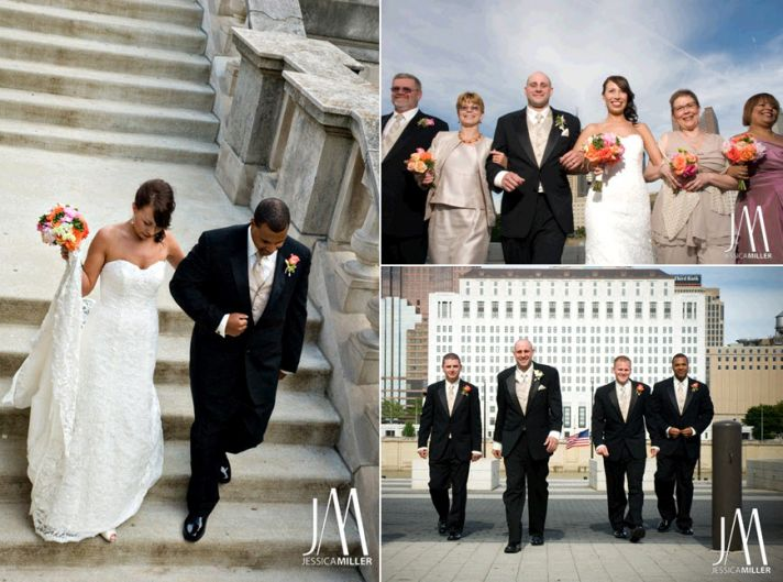Bride wears ivory strapless wedding dress, walks down steps with father of the bride