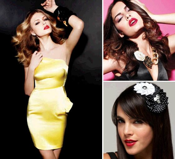 Stylish items for your bridesmaids- asymmetric yellow satin shine dress, zipper flower necklace, gro