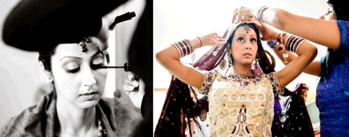 Bride gets ready to say I do- gets bridal makeup done and gets dressed in traditional wedding day ga