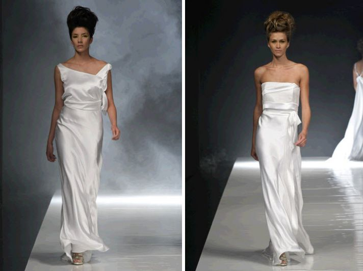 Sheath style asymmetric wedding dresses with draping and no embellishment
