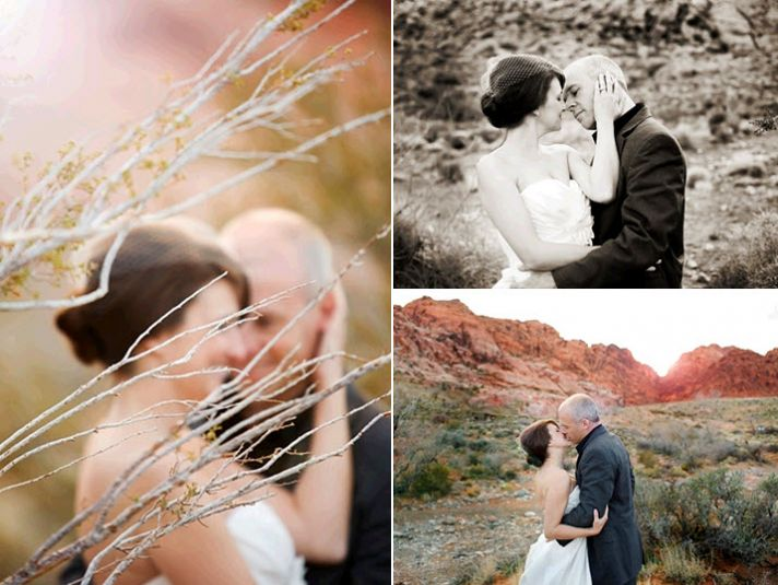 Bride wears beautiful white wedding dress and birdcage veil, poses outside in desert with groom