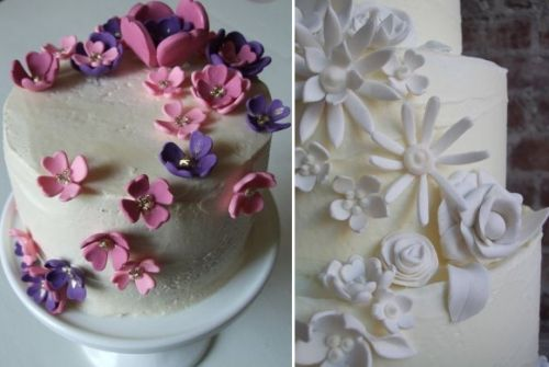 Classic organic white wedding cakes decorated with edible pink, purple and white flowers