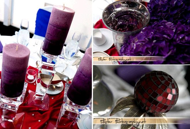 red tablecloth purple and ruby jewels decorate wedding reception tables