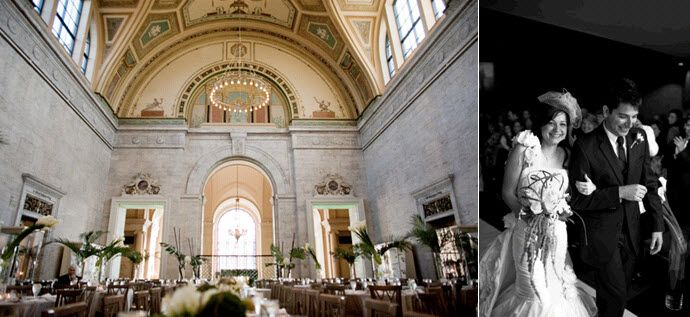The opulent inside of the museum wedding venue; bride and groom after saying I Do!