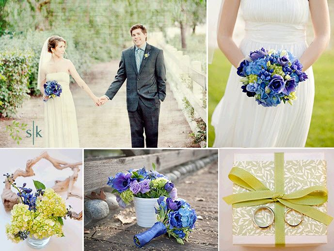 Bride, in white casual wedding dress, holds vibrant blue, purple, celery green bridal bouquet