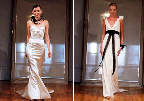 Beautiful ivory Elizabeth Fillmore wedding dresses with black accents