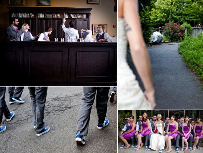 Groom and groomsmen get into the bar before the wedding ceremony starts; entire wedding party poses