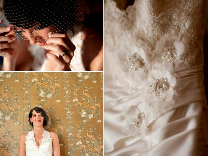 Gorgeous bridal style details- lace v-neck wedding dress, white birdcage veil