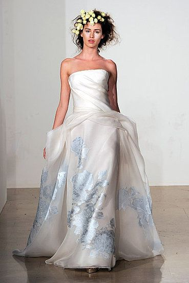 Strapless ballgown wedding dress with sky blue pattern on skirt