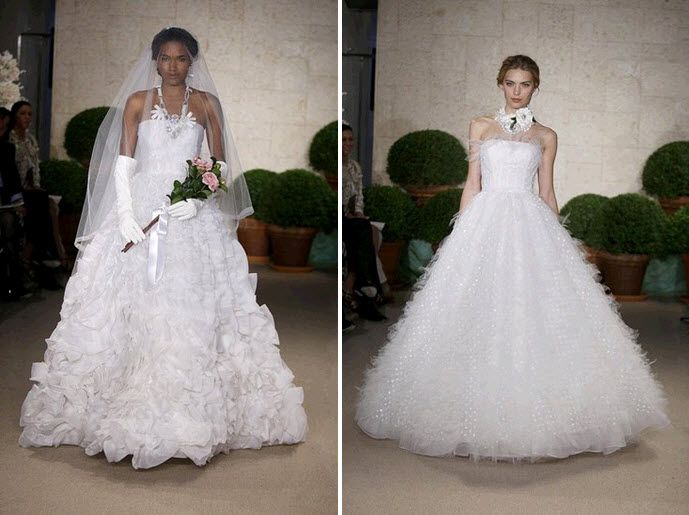 Dramatic Oscar de la Renta strapless ball gown wedding dresses